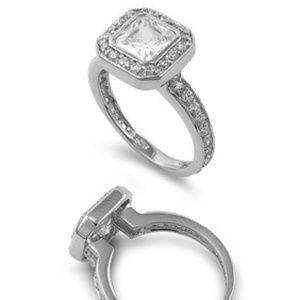 Art Deco Square CZ & Sterling Silver Fashion Ring